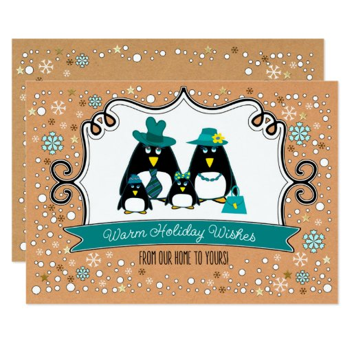 Funny penguin family christmas flat greeting cards zazzle for Penguin christmas cards homemade