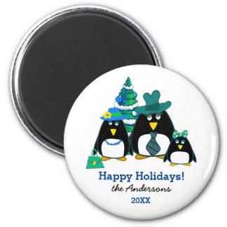 Funny Penguin Family Christmas Gift Magnets