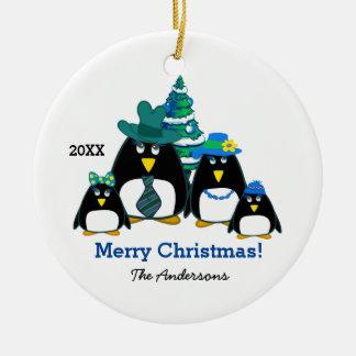 Funny Penguin Family Custom Christmas Ornaments