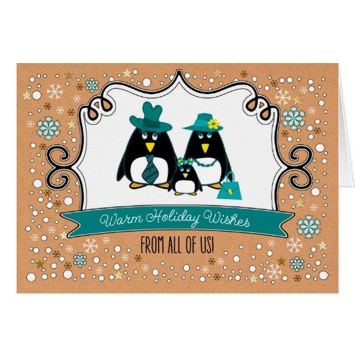 Funny penguin family of 3 custom christmas cards zazzle for Penguin christmas cards homemade