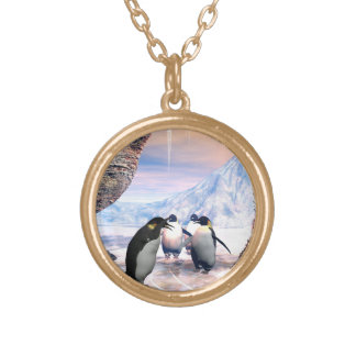 Funny penguin go on a lake with ice gold plated necklace