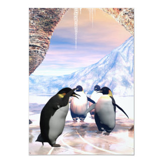 Funny penguin go on a sea with ice card