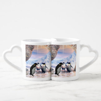 Funny penguin go on a sea with ice coffee mug set