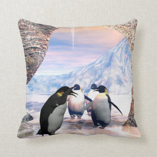 Funny penguin go on a sea with ice throw pillow