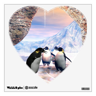 Funny penguin go on a sea with ice wall sticker