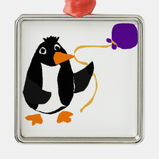 Funny Penguin Holding a Purple Balloon Square Metal Christmas Ornament