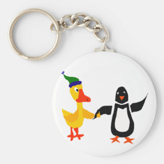 Funny Penguin Holding Hands with Duck Art Keychain