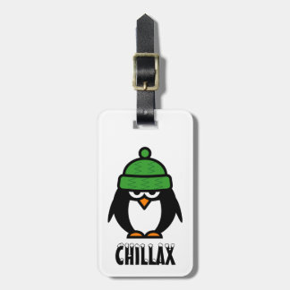 Funny penguin luggage tag | Whimsical animal image