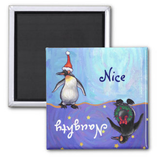 Funny Penguin Naughty Nice Holiday Magnet