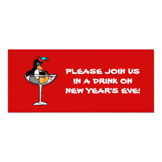 Funny Penguin New Year's Eve Invitations