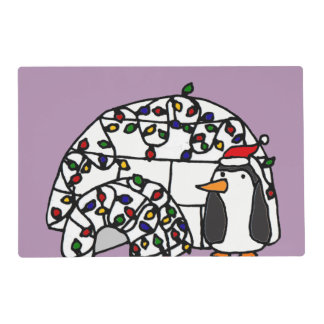 Funny Penguin next to Christmas Igloo Laminated Placemat
