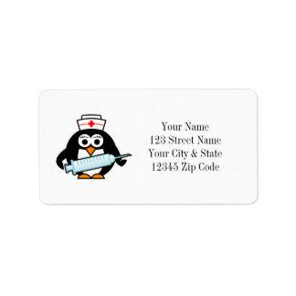 Funny penguin nurse with syringe address labels