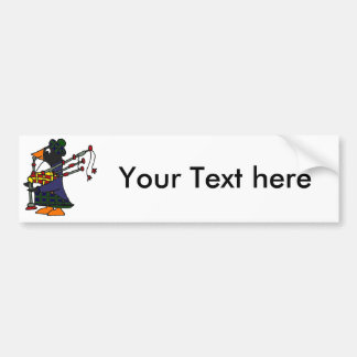 Funny Penguin Playing Bagpipes Art Bumper Sticker