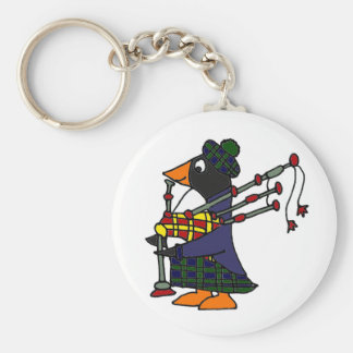 Funny Penguin Playing Bagpipes Art Keychain