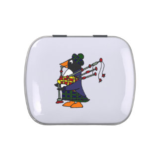 Funny Penguin Playing Bagpipes Art Original Jelly Belly Candy Tin