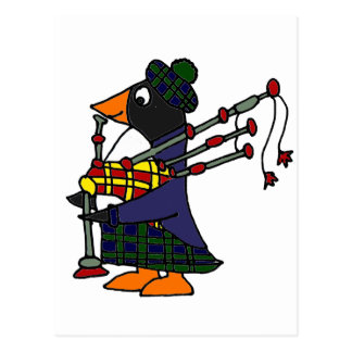 Funny Penguin Playing Bagpipes Art Postcard