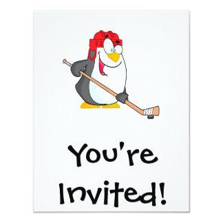 funny penguin playing ice hockey cartoon card