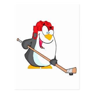 funny penguin playing ice hockey cartoon postcard