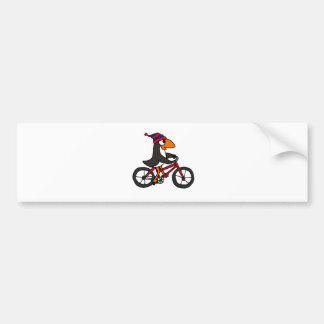 Funny Penguin Riding Red Bicycle Car Bumper Sticker