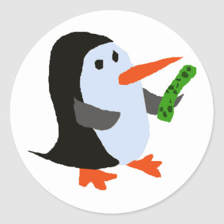 Funny Penguin with a Pickle Shirt Classic Round Sticker