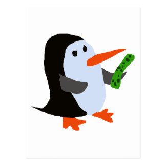 Funny Penguin with a Pickle Shirt Post Card