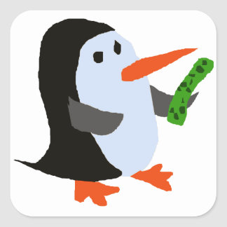 Funny Penguin with a Pickle Shirt Square Sticker