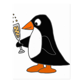 Funny Penguin with Champagne Postcard