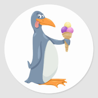 Funny Penguin With Ice Cream Stickers