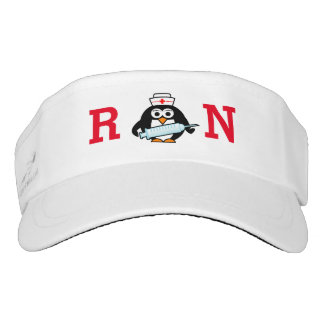 Funny penguin with syringe RN nurse sun visor cap