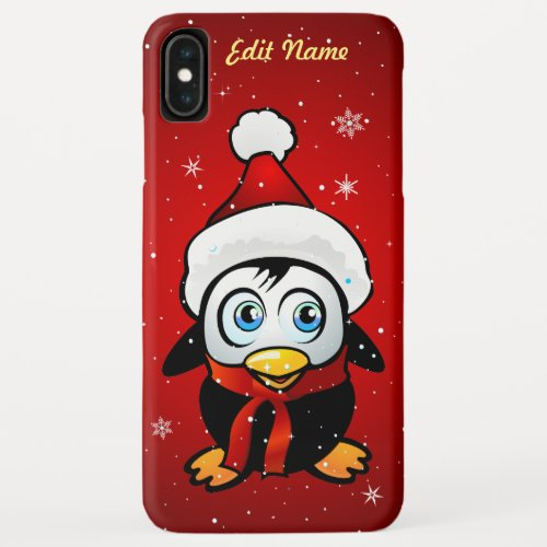 Funny Penguin With Xmas Hat iPhone XS Max Case