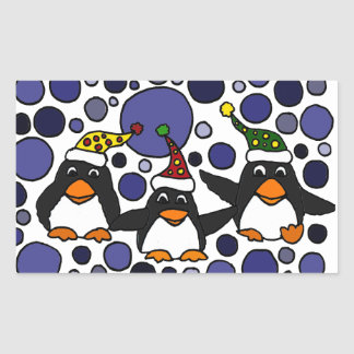 Funny Penguins in the Snow Art Abstract Rectangular Sticker