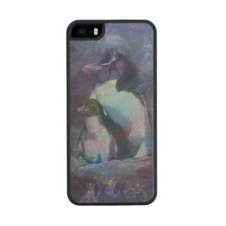Funny Penguins in Tuxedos Wood iPhone SE/5/5s Case