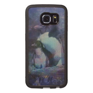 Funny Penguins in Tuxedos Wood Phone Case