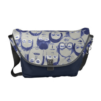 Funny People Faces Graphics Collection Courier Bag