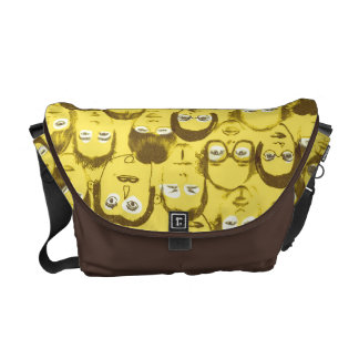 Funny People Faces Graphics Collection Messenger Bag