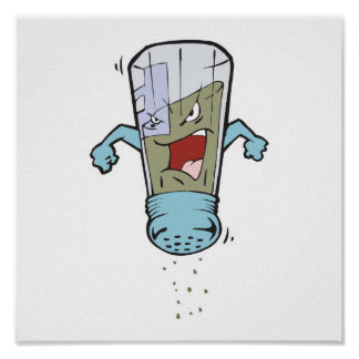 funny pepper shaker cartoon character poster