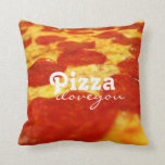 Funny Pepperoni Cheese Pizza Addict Fast Food Throw Pillows