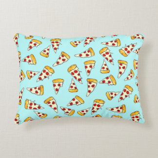 Funny pepperoni pizza pattern sketch on teal accent pillow