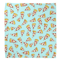 Funny pepperoni pizza pattern sketch on teal bandana
