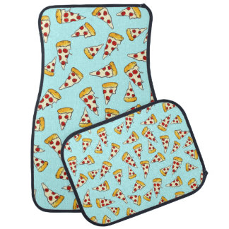Funny pepperoni pizza pattern sketch on teal car floor mat