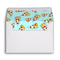 Funny pepperoni pizza pattern sketch on teal envelope