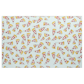 Funny pepperoni pizza pattern sketch on teal fabric