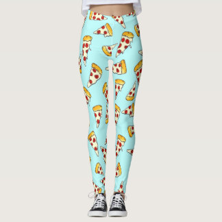 Funny pepperoni pizza pattern sketch on teal leggings