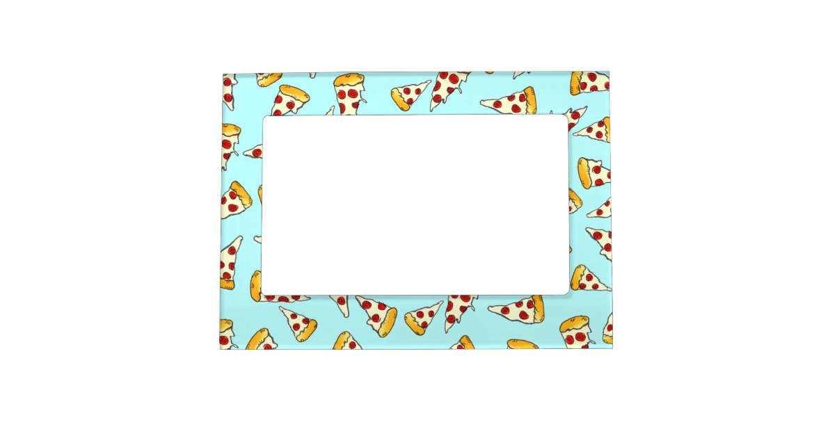 badf3311ac731f Funny pepperoni pizza pattern sketch on teal magnetic photo frame |  Zazzle.com