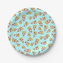 Funny pepperoni pizza pattern sketch on teal paper plate