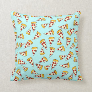 Funny pepperoni pizza pattern sketch on teal throw pillows