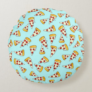 Funny pepperoni pizza pattern sketch on teal round pillow