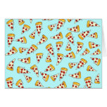 Funny pepperoni pizza pattern sketch on teal stationery note card