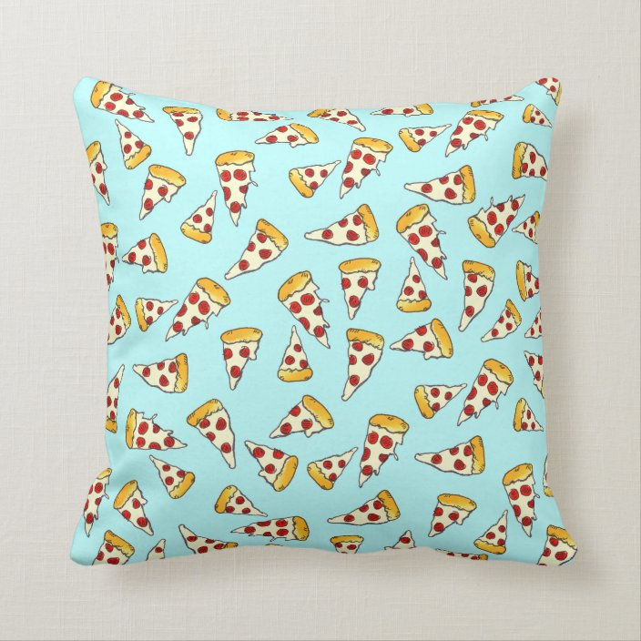 Funny Pepperoni Pizza Pattern Sketch On Teal Throw Pillow Zazzle Com