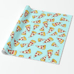 Funny pepperoni pizza pattern sketch on teal wrapping paper